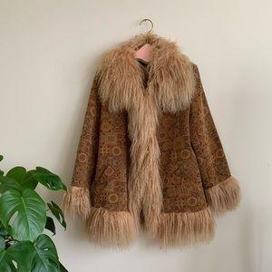 Beautiful Fur Trimmed Tapestry Coat